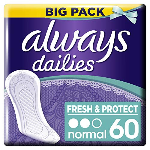 Always Dailies Fresh & Protect Panty Liners Normal, Pack of 60