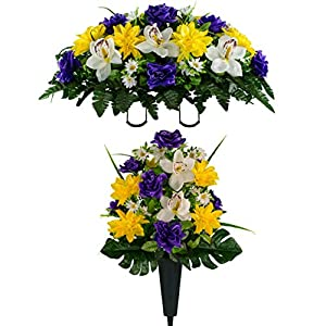 Sympathy Silks Artificial Cemetery Flowers – Realistic Vibrant Roses, Outdoor Grave Decorations – Non-Bleed Colors, and Easy Fit – 1 Purple Rose White Orchid Bouquet with 1 Vase and 1 Saddle