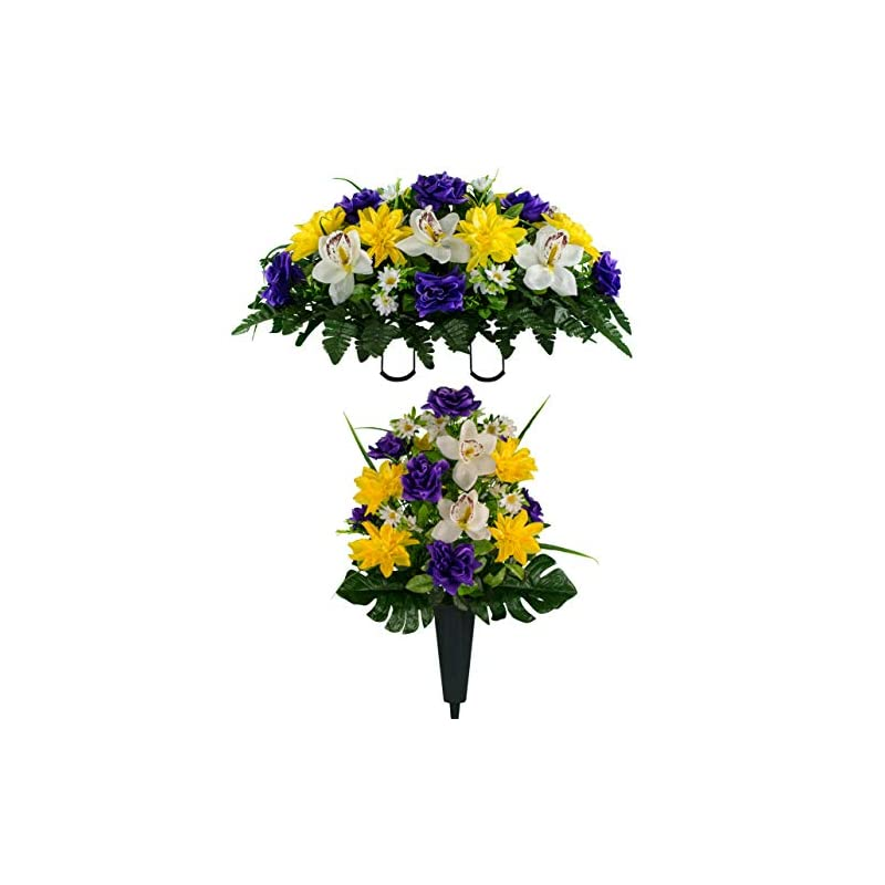 silk flower arrangements sympathy silks artificial cemetery flowers – realistic vibrant roses, outdoor grave decorations - non-bleed colors, and easy fit - 1 purple rose white orchid bouquet with 1 vase and 1 saddle