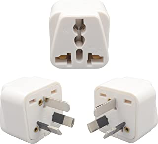 INIBUD Pack of 3 UK EU US to AU Australia NZ Travel Adapter White Plug