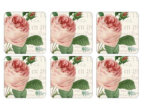 RHS Roses, 10,5 x 10,5 cm, MDF, Kork, Untersetzer, 6 Stück, Mehrfarbig, Farbe