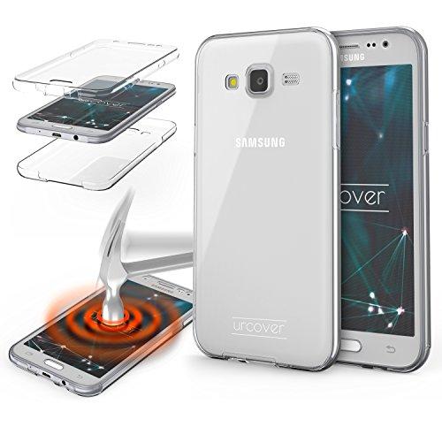 Urcover Funda Compatible con Samsung Galaxy J1 (2015) Carcasa Protectora 360 Grados Silicona Gel en Transparente Full Body Protección Completa Delantera/Trasera - Transparente