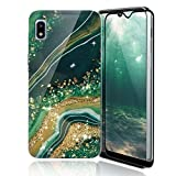 TJS Phone Case Compatible with Samsung Galaxy A10E 5.8' (Not Fit Galaxy A10/M10), with [Full Coverage Tempered Glass Screen Protector] TPU Matte Color Marble Transparent Clear Soft Skin (Gold/Green)