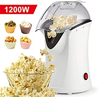 Homdox Hot Air Popper Popcorn Maker, 1200W Hot Air Popcorn Popper, Electric Popcorn Machine with Removable Lid for Home Use, No Oil Needed, Great for Kids (White/1200W)