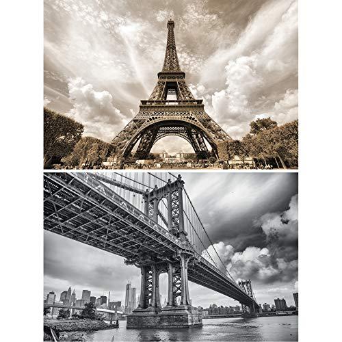 GREAT ART Set de 2 Posters XXL - Emblemática Torre Eiffel y Puente de Brooklyn - París en Francia Nueva York en EE. UU. Estilo Industrial Cuadro decoración de Pared (140 x 100 cm)