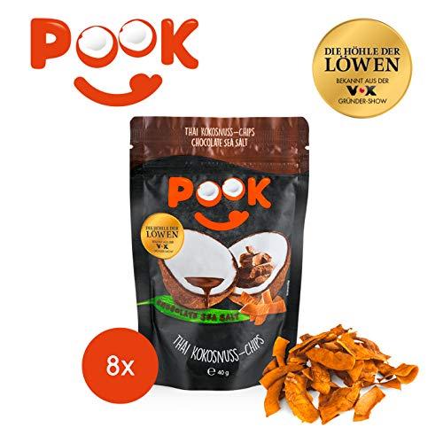 POOK Kokosnuss-Chips Chocolate Sea Salt 8er-Set (8 x 40 g), vegan | geröstete Kokosnuss-Streifen mit Meersalz und Kakao | thailändischer Snack aus Kokosnussfleisch