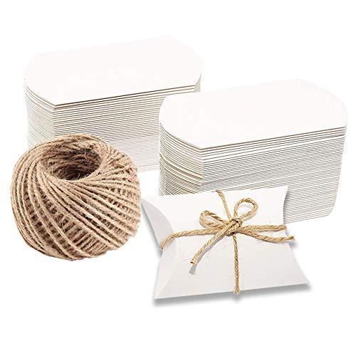 Naiocase 100 pz Scatole Portaconfetti Bianchi in Carta Kraft con Corda di Canapa Bomboniere Conffetti per la Festa Matrimonio Compleanno Battesimo Comunione Bianco