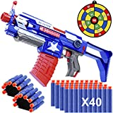 Blaster Guns Toy Guns, Automatic Toy Sniper Rifle with 40 Darts, 2 Reload Clips & 2 Hand Wrist Band, Strike Elite Retaliator Toy Blaster Soft Bullet Gun Birthday Gifts for Party Boys