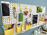 Wall Grid Organizer Unit, Wall Mounted Office Desk Organizer,Wall Panels and Accessories, Multifunction Photo Hanging Display and Wall Storage Organizer, Pegboard Organizer. (Yellow)