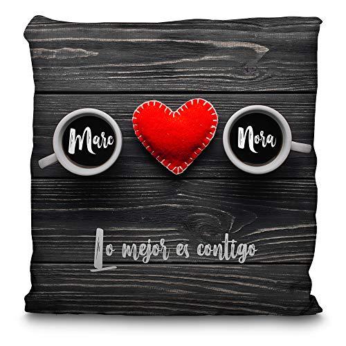 Cojin Personalizado San Valentin con Nombre/Texto. Regalos San Valentin Personalizados. Impresión Total por las 2 caras hasta la Costura. Cojin San Valentin Relleno Incluido. Varios Tamaños. Café