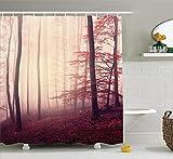 N/A Fall Duschvorhang-Set Woodland Decor Fantasy Marsala Farbe Nebel Wald Dschungel träumige Wildnis Holz Sonnenlicht Bad Zubehör mit Haken Rot Weinrot 152,4 x 182,9 cm