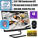 """2020 Newest Lenovo IdeaCentre A340 24 All-in-One Desktop I 23.8"""" FHD Touchscreen IPS I Intel Quad-Core i3-9100T(Beats i5-7500T) I 8GB RAM 256GB PCIe SSD I DVD WiFi Win 10 Pro + iCarp Wireless Mouse"""