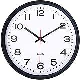Bekith Reloj de pared de 30 cm, silencioso, moderno, con marco negro, para el hogar, la oficina, la escuela