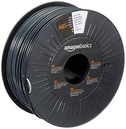 Amazon Basics - Filamento para impresora 3D, plástico ABS, 2.85 mm, cinta de 1 kg, gris oscuro
