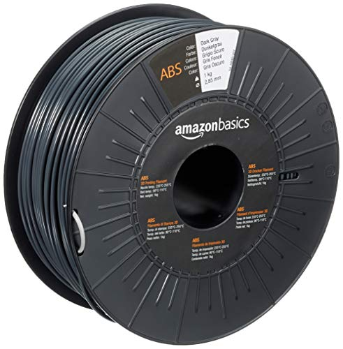Amazon Basics - Filamento per stampanti 3D, in ABS, 2.85 mm, grigio scuro, 1 kg per bobina