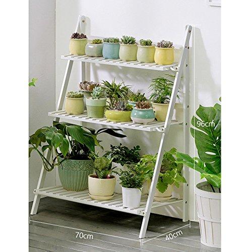 JXXQD Présentoir à Fleurs en Bois avec Plante en Pot à 3 Niveaux et étagère pour jardinière/Support à Herbes avec Support pour Pot Pliable Blanc 50/70/100 × 40 × 96cm (Size : 70×40×96cm)