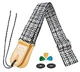 Sangle Guitare pour Basse Acoustique Classique électrique Folk Vantage Plaid Cuir Microfibre Pics en Cuir Bracelet Bouton Bundle (Gris&Noir)