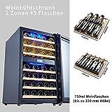Kalamera Weinkühlschrank 2 Zonen für 45 Flaschen,120Liter,Kompressor,Temperaturzonen 5-10°C/10-18°C,Schwarz,KRC-120BFG - 7