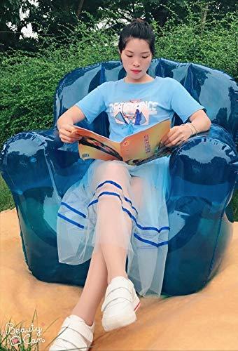 LQYHocker Aufblasbarer Stuhl, Sofa, faule Person, zittern, transparent, tragbar, tragbar, für Einzelperson, für den Außenbereich, rot, blau