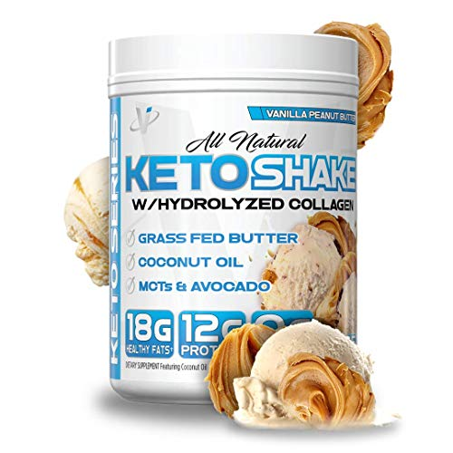 VMI Sports All-Natural Keto Shake with Hydrolyzed Collagen Dietary Supplement, 15 Servings, Vanilla Peanut Butter