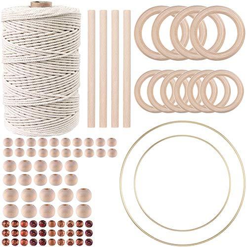 87pcs Macrame Kits for Beginners 3mm x 220yards Natural Cotton Macrame Cord Wall...
