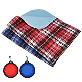 SLSON 2 Pack Washable Puppy Pee Pads 18in x 24in Reusable Dog Pee Pads Waterproof Dog Training Pads Dog Whelping Pads Plaid Travel Pet Pee Pads with 2 Dog Collapsible Bowls, Blue and Red