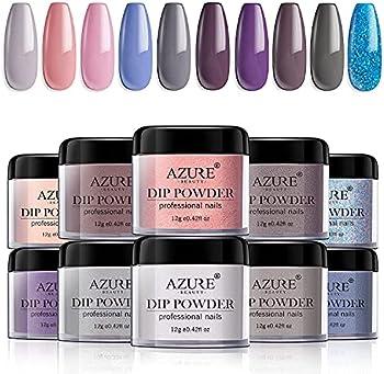 AZUREBEAUTY 10 Colors Nude Pink Gray Glitter Acrylic Nail Dipping Kit