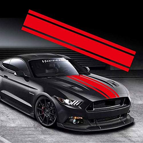 Leasinder 49'x 8.7' Car Hood Stripe Sticker Auto Racing Stripes Body Side Decal Hood Bumper Stripe Decal Vinyl Stripe Sticker Decoration (Red, Style1 49'x 8.7')