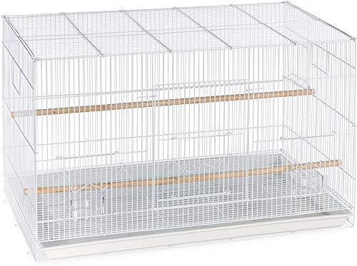 Gabbia dell'animale domestico rifornimenti di volo può essere facilmente sovrapposta gabbia volo aggiuntivo con due bicchieri di plastica e due habitat di legno,White