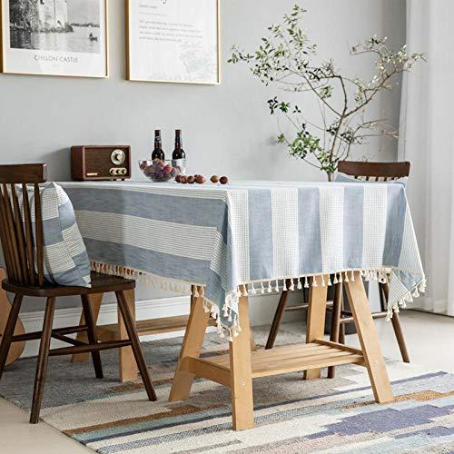 GTWOZNB Transpirable, Aislamiento Térmico, Restaurante,Cocina, Cafetería, Mantel de Jardín Rectángulo Liso de Rayas con borlas-Azul_140 x 160