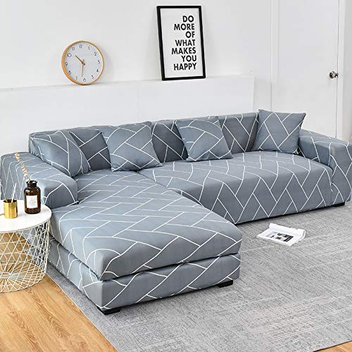 Fundas de sofá Chaise Longue Impresas en Forma de L para Sala de Estar Protector de sofá Fundas elásticas Antipolvo para sofá de Esquina A17 2 plazas