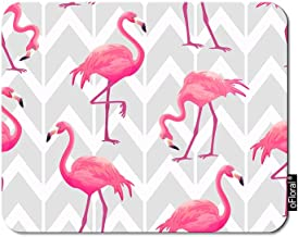 oFloral Flamingo Gaming Mouse Pad Pink Tropical Flamingos Chevron Grey Geometric Background Decorative Mousepad Rubber Base Home Decor for Computers Laptop Office Home 7.9X9.5 Inch