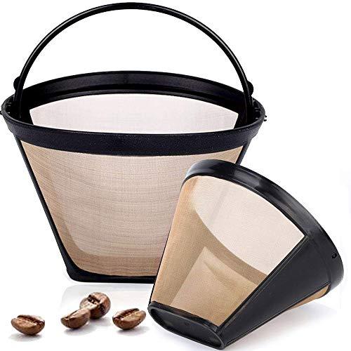 Gold Tone koffie druppelaar, koffiefilter, herbruikbare Cone stijl vervanging koffie Filter vervangt uw permanente koffie filter voor machines en brouwers (2 Pack)