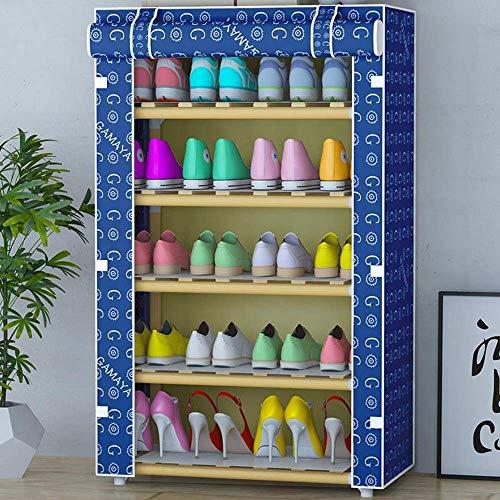 NSYNSY Zapatero para Muebles, gabinete de Almacenamiento de Tela de Lona de Madera de 5 Niveles con Cubierta a Prueba de Polvo, admite hasta 20 Pares de Zapatos, 60 cm * 29 cm * 105 cm (Color: C)