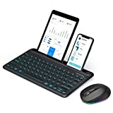 Jelly Comb Backlit Bluetooth Keyboard and Mouse Set for iOS/Mac OS/Android/Windows, Rechargeable Illuminated Keyboard and Mice with Integrated Cradle QWERTY for iPad 12.9', Phone, Samsung, Lenovo