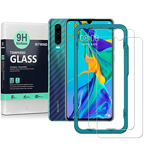 Ibywind Screen Protector for Huawei P30 [Pack of 2] 9H Tempered Glass Protector with Back Carbon Fiber Skin Protector,Including Easy Install Kit