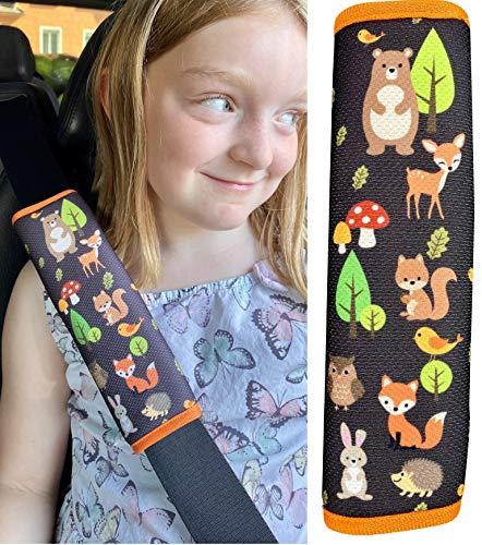 1x protector de cinturón de seguridad HECKBO® con dibujos de animales del bosque: cinturón de seguridad, almohadilla para el hombro, cojín para el hombro, funda de cinturón, asiento para el coche