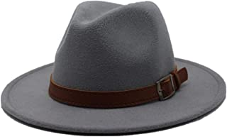 Lei Zhang Men Women Wool Fedora Hat With Leather Belt Autumn Casual Church Hat Winter Jazz Fascinator Hat Size 56-58CM