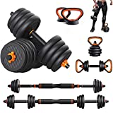Fitness Dumbbell Barbell Kettlebells Push-up Stand Sets 6 In 1 Adjustable Weight Plate Home Gym Body Workout Equipment Men And Women Training(2 Pieces/Set)(Size:10kg/22lbs)