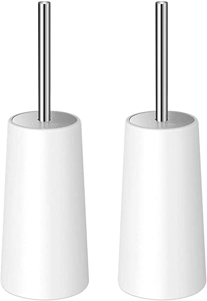 Homemaxs Toilet Brush And Holder 2 Pack Heavy Duty 2019 Upgraded Stainless Steel Length Handle Toilet Bowl Brush Set Ergonomic Durable Shed Free Scrubbing Bristles Discreet Wand Stand