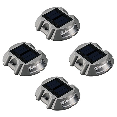 Solar Deck Lighting Outdoor - 4 Pack Waterproof Aluminum Dock Solar Powered Lights Outdoor LED Pathway Road Marker for Garden Path Stair Fence Driveway Road Dock Lighting (White)
