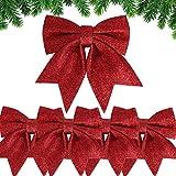 BHGT 5pcs Lazos de Navidad Grandes 20,5cm 17cm Rojos Colgantes Árbol de Navidad Adornos Navideños Decoración Regalos Casa 24 x 21cm 18 x 17cm