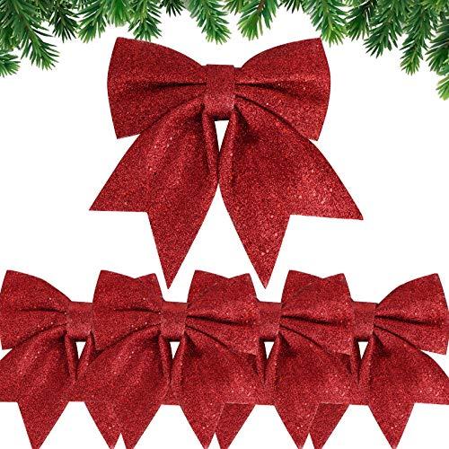 5 Stück Weihnachtsschleifen Glitzer Schleifen Weihnachtsbaum Bogen Schleife Weihnachtsbaum Schleifen Deko Weihnachtsbaumschmuck Schleifen für Zuhause Festival Party Baumkranz Dekorationen Rot