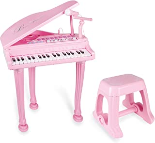 Little Princess Educational 37 Keys Keyboard Kids Toy Piano with Bench and Microphone can Connect MP3 Mobile Phone for Toddlers by Baoli