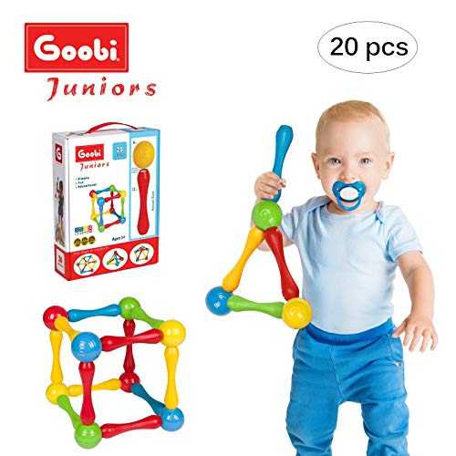Goobi Juniors 20 Piece Construction Set Large Building Blocks Developmental Play Sticks STEM Learning Vibrant Colors Creativity Imagination 3D Puzzle Educational Toys for 1 Year Old Toddlers Preschool