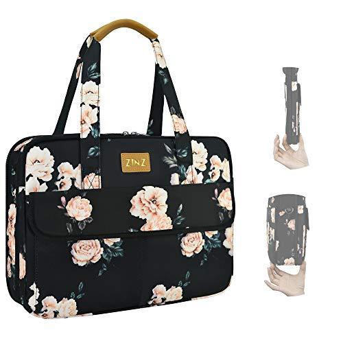 Ultradünne und Erweiterbare Laptoptasche Handtasche Damen 14-15 Zoll, wasserdichte und Diebstahlsichere Umhängetasche Aktentasche, Geschenke für Frauen. (3,7L-10,3L) -Weiße Pfingstrose
