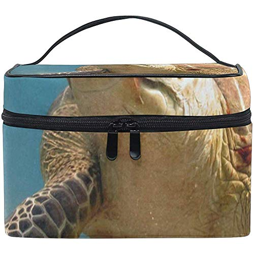 Cosmetic Bag Green Turtle with Remoras Womens Makeup Organizer Girls Toiletry Case Box Lazy Zip Bag