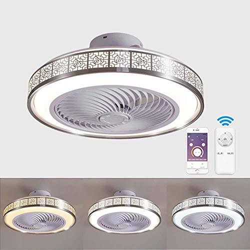 Ventilador de techo con lámpara, 3 Velocidades, regulables con Control remoto inteligente LED Lámpara de Techo 72W Creativo Ventilador Lámpara Invisible Puede ser cronometrado Color opcional-Plata