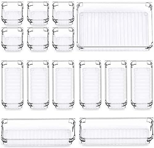 Paquete de 15 bandejas organizadoras de cajones de escritorio, 4 separadores de cajones de tamaño organizador de maquillaje, cajas de almacenamiento de plástico para cocina, dormitorio, baño, oficina