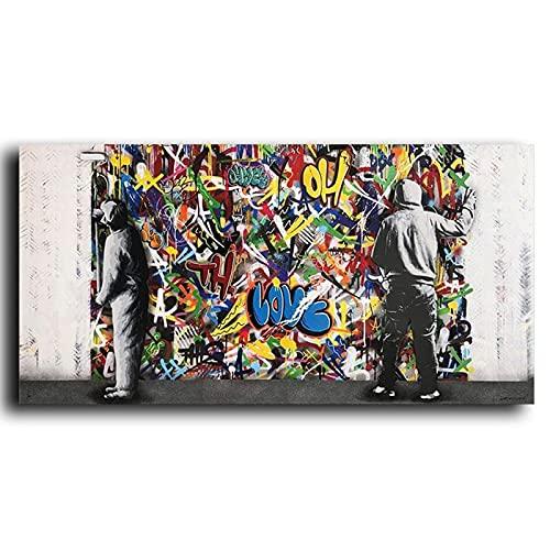 Abstracto Banksy Street Art Graffiti Detrás de la cortina Niño Niños Desvelar lienzo Pintura Arte de la pared Póster Dormitorio Sala de estar Estudio Oficina Decoración para el hogar Mural